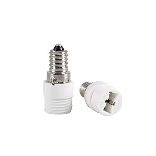 Mextronic Conversor de cerámica, 2 casquillos adaptador convertidor E14 a G9, adaptador de lámpara para bombillas LED, lámparas halógenas, bombillas CFL