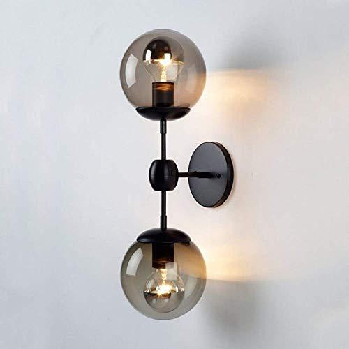 YANGQING Light Lamp Wall Light Outdoor, 2 Lights Orb Wall Light in Satin Black, Traditional Outdoor Wall Light Down,2 Lights Orb Wall Light Modernism (Black),Colour:Black (Color : Black)