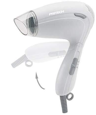 Pritech Secador de pelo de viaje TC-2259 función Ionic, boquilla concentradora de aire, 2 velocidades, perfecto para viaje y para llevarlo a fuera. Secador pequeño 1000W (Blanco)