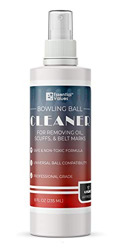 Essential Values Bowling Ball Cleaner (8 oz per Bottle) | USBC Approved | Made in USA - Professional Grade That Works Great to Remove Scuffs, Ball Marks, Belt Marks, More