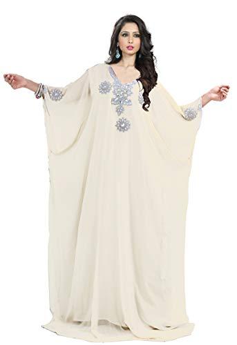 KoC Women's Kaftan Maxi Dress Farasha Caftan KFTNSILVER-Ivory