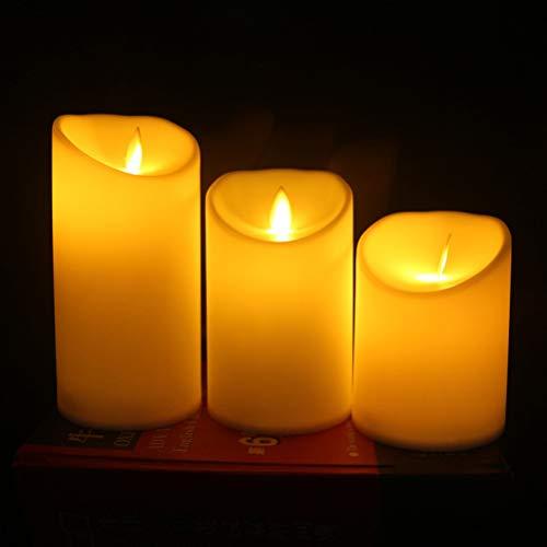 YANGSANJIN Vlamloze kaarsen, led-kaarsen, vlamloze ledkaarsen, batterij-aangedreven sfeerverlichting van echte was met 3 vlamloze kaarsen