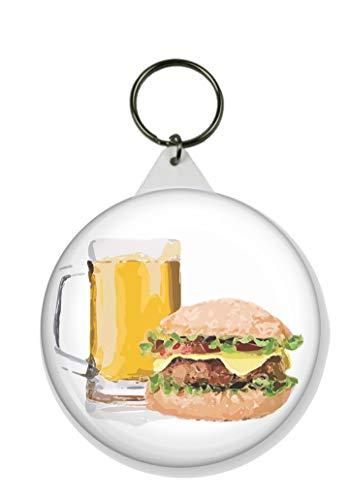 Gifts & Gadgets Co. Schlüsselanhänger Bier und ein Burger, rund, 58 mm Durchmesser, groß