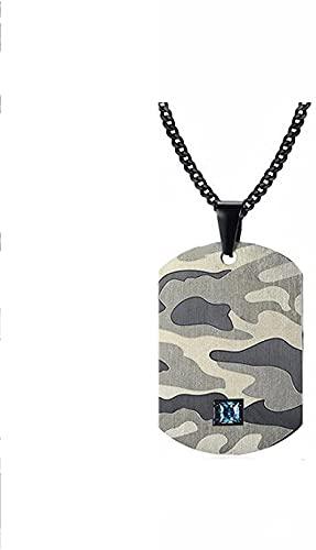 Collar con Colgante de Etiqueta de Perro de Camuflaje de Acento Azul de Acero Inoxidable para Hombres, joyería de Camuflaje Elegante Militar de Soldado Abstracto 24IN