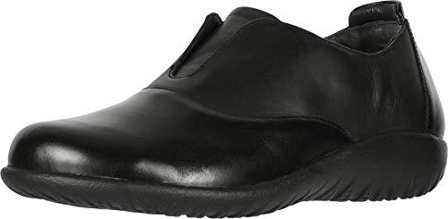 NAOT Footwear Women's Karo Jet Blck Lthr/Black Madras Lthr Slip-on Shoe 10 M US