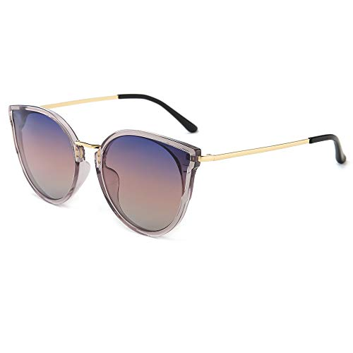 SUNGAIT Donna Occhio di Gatto Polarizzati Vintage Oversize UV-Protezione Occhiali da Sole(Cornice Grigia Trasparente/Lente Sfumatura Viola)