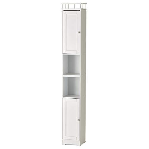 The Lakeside Collection Slim Bathroom Storage Cabinet - Space Saving Organizer - White