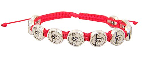 Confirmation Red Cord Bracelet with Silver Toned Holy Spirit Medals, 8 1/2 Inch