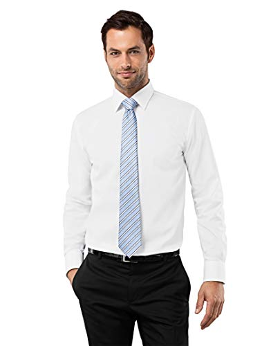 Vincenzo Boretti Camisa de Hombre, Corte Ajuste Recto (Regular-fit), 100% algodón, Manga-Larga, Cuello Kent, Lisa - no Necesita Plancha Blanco 43/44