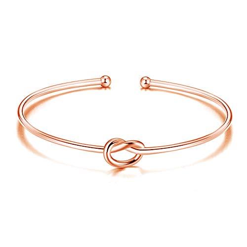 Jewanfix Pulsera chapada en oro rosa para mujer, diseño de nudo de amor eterno, para dama de honor, boda, regalo de joyería