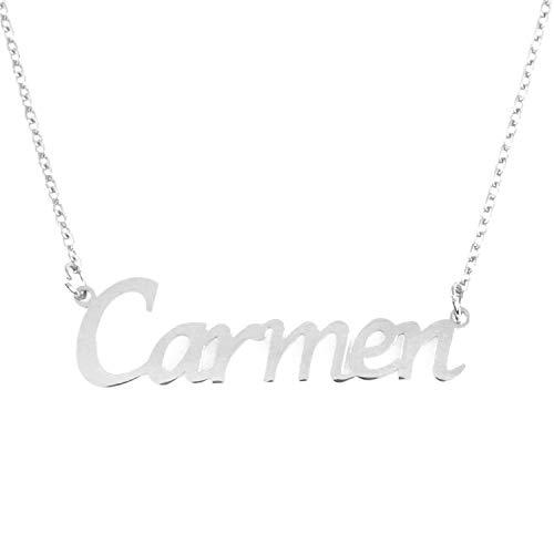 Kigu Carmen - Collar con nombre personalizado y cadena ajustable, color plateado