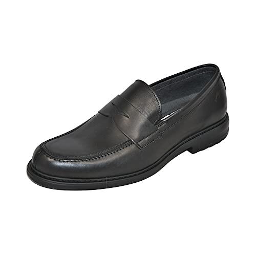 Fluchos | Zapato de Hombre | Simon 8721 Natural Negro Zapato de Vestir | Zapato de Piel de Vacuno Natural Encerada y cepillada de Primera Calidad | Cierre con Cordones | Piso EVA