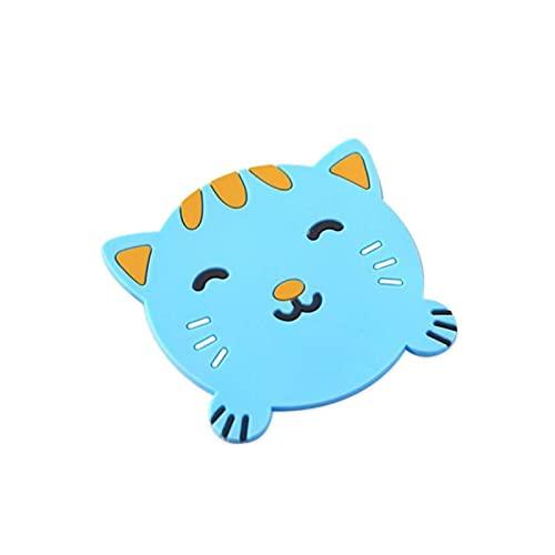Animal de dibujos animados almohadilla de silicona aislamiento de silicona placemat taza taza estera home decoración durable gato patrón de montaña accesorios de cocina ( Color : Cat , Size : 1pc )