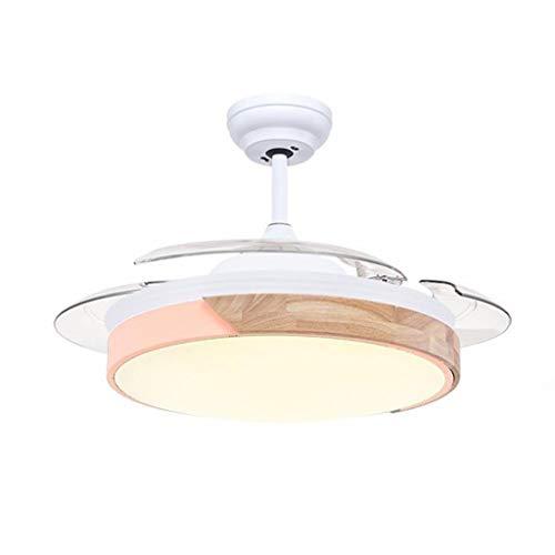 Ventilatore da soffitto per interni a basso profil Nordic Macaron Fan luce invisibile Ventilatore Lampada reversibile lama di regolazione a sei velocità della luce LED a tre suoni Luci per ventilatori