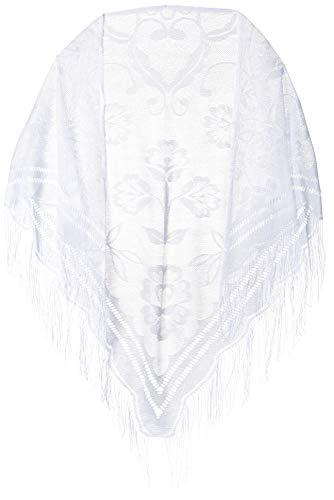 CAPTAIN Fine Soft Lace Shawl Wrap Leaf Designed Scarf, Cape Poncho with Fringes For Women, White, Medium