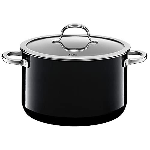 Silit Passion Black Koch/- Fleischtopf, hoch, 24cm, Glasdeckel, 6,4l, Silargan Funktionskeramik, Topf Induktion, schwarz