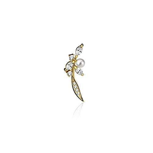 Tapsi´s Coolbodyart®| Ohr Klemme Manschette Rhodium Perle Zirkonia, Feder Gold