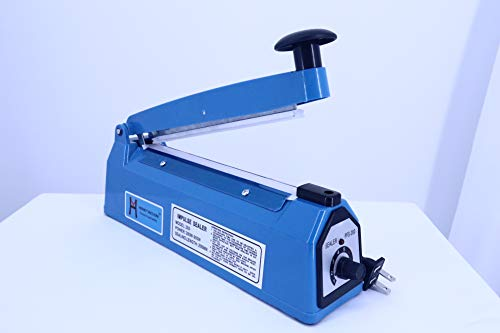 Henky Vacuum 12'' 300mm Impulse Manual Bag Sealer Heat Sealing Machine Poly Tubing Plastic Bag (12.0)