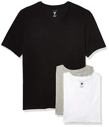 Ted Baker mens V-neck Stretch Cotton Tshirts, 3 Pack Base Layer Top, Black/Light Grey Heather/White, Medium US