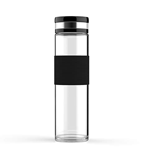 ELDR Supply 600ml Glass Water Bottles, Easy to Clean Wide Mouth, Silicone Sleeve, Leak Proof Twist Cap, Handmade Clear Borosilicate Glass, 2-Pack (20oz / .6 Liter)