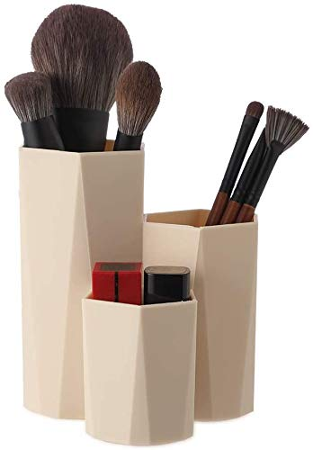 Soporte multifunción para brochas de maquillaje, organizador de escritorio, organizador de escritorio, organizador de almacenamiento de escritorio, contenedor de almacenamiento hexagonal para lapiceros (Khaki)