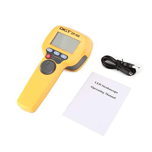 MXECO DIGT DT-10S 7.4V 2200mAh 60-99999 Luces estroboscópicas/min 1500LUX Handtro LED Estroboscopio Medición de velocidad de rotación Velocímetro de flash (Amarillo)
