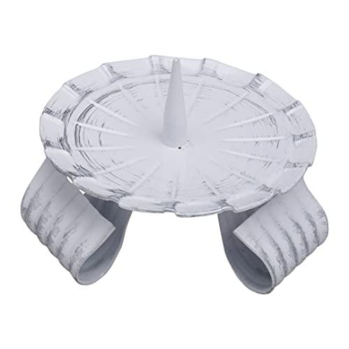 NKlaus Candelabro de 8 cm de diámetro, de hierro, trípode, con mandril de altar, estructura de líneas, color blanco y plateado