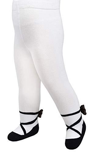 Baby Mädchen Strumpfhosen Leggings im Mary Jane-Design - Anti-Rutsch-Sohlen - weiche Baumwolle (BALLERINA SCHWARZ, 6-12 Monate)