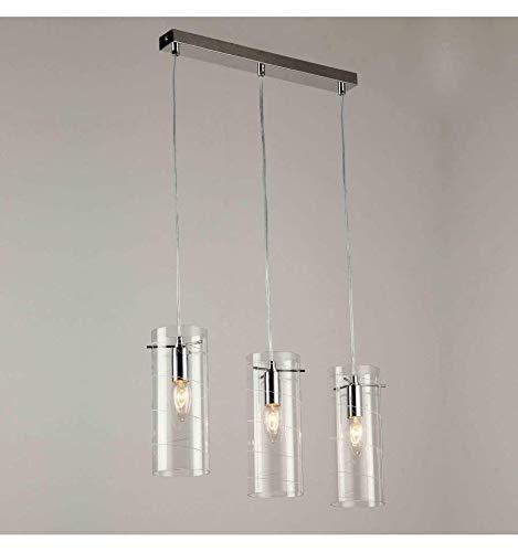 KOSILUM - Suspension 3 verre cylindre triple - Edell - Lumière Blanc Chaud Eclairage Salon Chambre Cuisine Couloir - 3 x 40W - - E14 - IP20