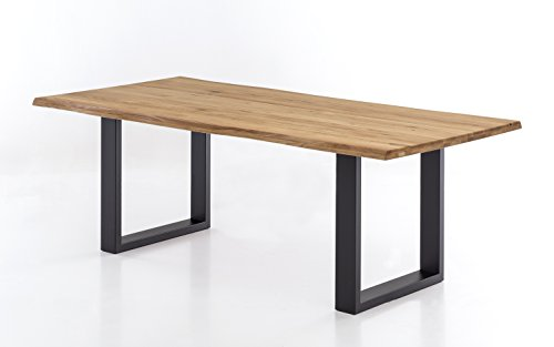 Massivholztisch Brian in Wildeiche, massiver Esstisch mit Baumkante, rustikaler Esszimmertisch mit schwarzen Stahlkufen, Größe:220x100
