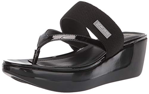 Kenneth Cole REACTION Women Pepea Cross Platform Thong Sandal Wedge, Black, 5 M US