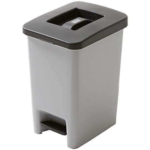 システムK ゴミ箱 ダストボックス 圧縮ハンドル ペダル付き グレー