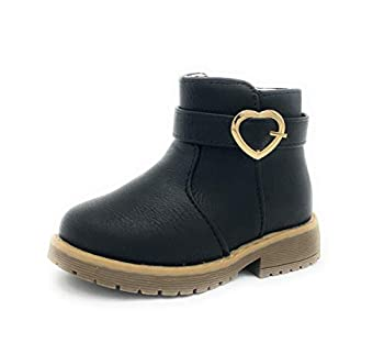 MYTH21 Girls/Toddlers Fashion Cuite Winter Snow Boots Shoes,BLACK-WARM17,SIZE 5