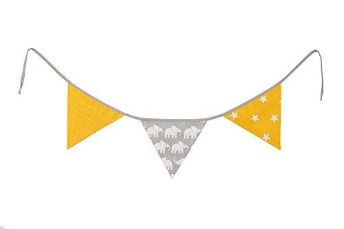 Guirnalda de banderines de ULLENBOOM ® con elefantes amarillo (guirnalda de tela: 1,25 m; 3 banderines; decoración para la habitación de los niños; fiestas de bienvenida para bebés)