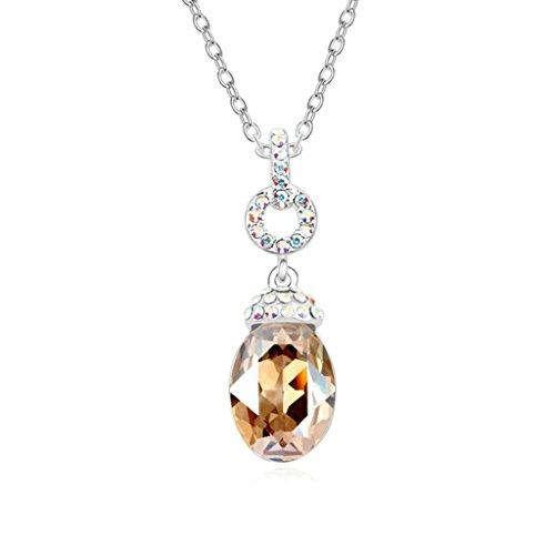 Daesar Schmuck Damenkette Vergoldet Oval Synthetische Kristall Halskette Zirkonia Halskette Anhänger