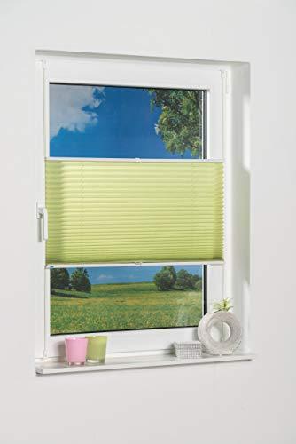 Khome - Store plissé à Fixer, Polyester, Vert, 105 x 130 cm