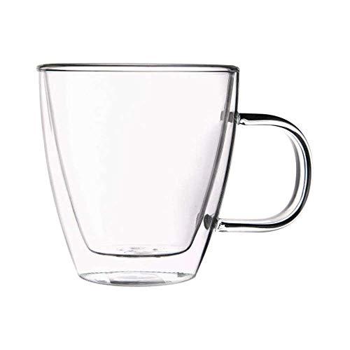 VVU 1 Taza de Vidrio de Doble Pared, Taza de Agua Transparente de Gran Capacidad con asa, para café, té, Leche, Jugo, Cerveza, 330 ml