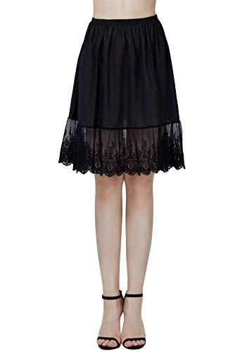 BEAUTELICATE Damen Unterrock 100% Baumwolle Vintage Kurz Halbrock Mit Spitze Stickerei Knielang Dirndl Petticoat, Schwarz, M Für EUR (40-42)-55cm Länge