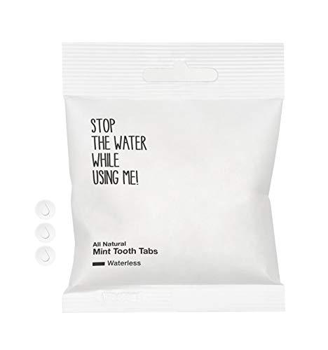 STOP THE WATER WHILE USING ME! All Natural Mint Tooth Tabs (90 Stück), vegane Zahnputztabletten mit natürlichem Minzgeschmack, biologisch abbaubare & klimaneutrale Dent Tabs