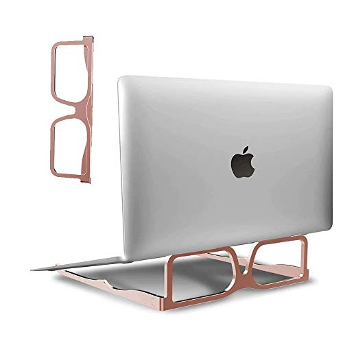 SSEIHI Foldable Aluminum alloy Laptop Stand, Glasses Designed Laptop Riser Lightweight And Durable Ergonomic Tablet Stand Non-slip Ventilated For pads and laptops, Rose gold
