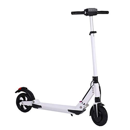 Patinete Eléctrico E-Scooter Plegable con Pantalla LCD y Luz LED Delantera, Control APP, Motor de 300W, Velocidad máxima 40Km/h Carga máxima 120Kg, para Adultos y adolescentes, Blanco