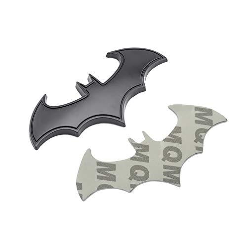 Bonfinity Adesivo Batman Nero 3D in Metallo Applicabile Ovunque | Stemma Logo Bat Man Accessorio Supereroi per Auto Moto Batmobile, Sticker 3D Tuning 8x3 cm (Nero)