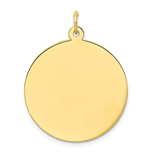 10k Yellow Gold .013 Gauge Circular Engravable Disc Pendant Charm Necklace Round Plain Fine Jewelry For Women Gifts For Her 10k Gold Medical Pendant