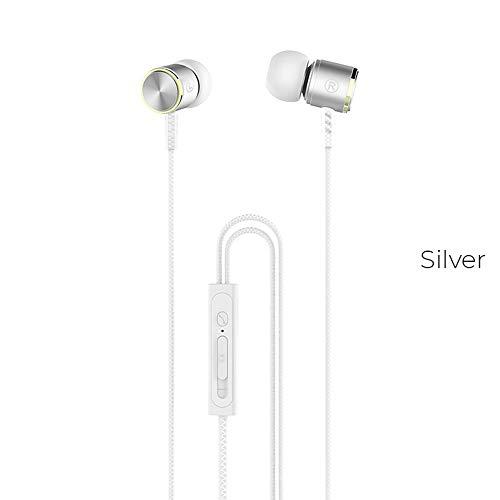 Auriculares intraurales Blukar con micrófono de alta sensibilidad, aislamiento de ruido, alta definición, sonido puro para iPhone, iPod, iPad, reproductores de MP3, Samsung Galaxy, etc. blanco
