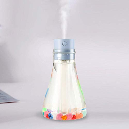 YBQ Humidificador de aire portátil con forma de botella de deseos con luz nocturna, capacidad: 500 ml, CC 5 V (rosa) (color: azul) (color: azul)