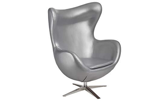 ElleDesign Klappsessel aus Kunstleder Silber Egg Chair Arne Jacobsen Basculante