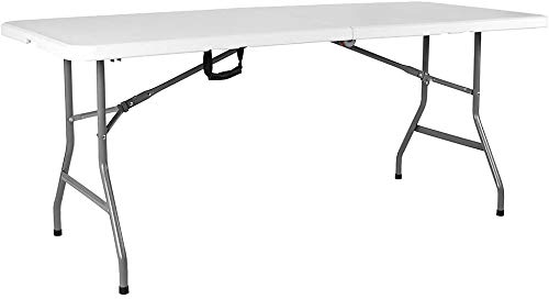 Ossian Folding Table - Heavy Duty Compact Portable Multi-Purpose Trestle with Fold Away Legs Drop Lock Safety Hinges and Carry Handle for Indoor Outdoor Wedding Party Picnic BBQ Garden Events (6ft)