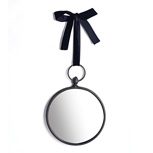 Espejo colgante decorativo de metal decorativo de estilo vintage, redondo en negro mate