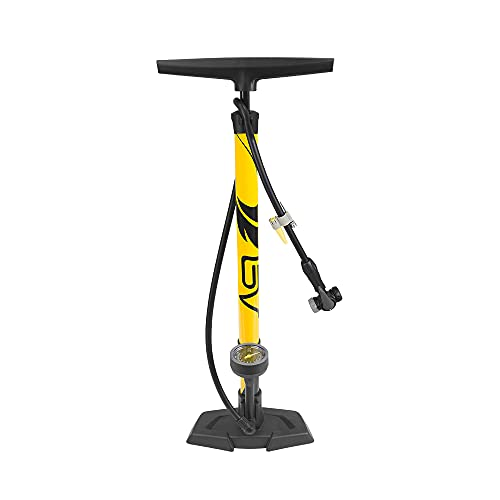 BV Bicycle Ergonomic Bike Floor Pump with Gauge & Smart Valve Head, 160 psi, Automatically Reversible Presta and Schrader (Yellow-55E)