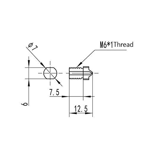 DASEXY Thread Nozzle 1.2mm/1.5mm TC4 Titanium Alloy M6 for 3D Printer 1.75mm Filament nozzle (Size : 1.5mm)